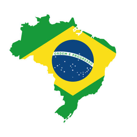 Brazilian map with flag, national symbol of Brasil Banque d'images - 107532009