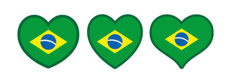 Brazilian hearts vector set, love icon with the flag of brazil Banque d'images - 110506322