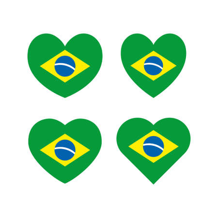 Brazilian hearts vector set, love icon with the flag of brazil Banque d'images - 110506326