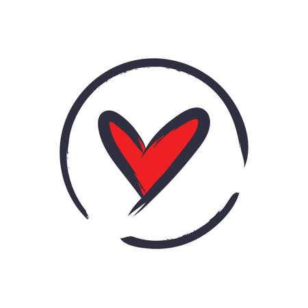 Hand drawn heart illustration, love symbol Çizim