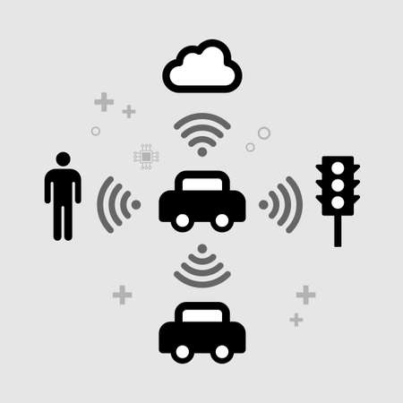 Inteligencia artificial en automóviles, iconos vectoriales planos de la red v2x, vehículo para todo