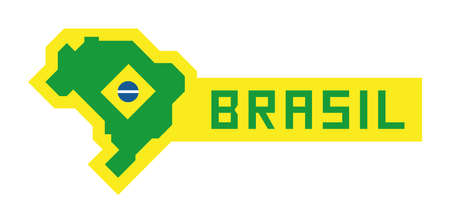 Map of Brazil with geometric flag Banque d'images - 107324423