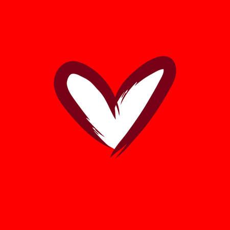 Heart love icon, hand drawn illustration