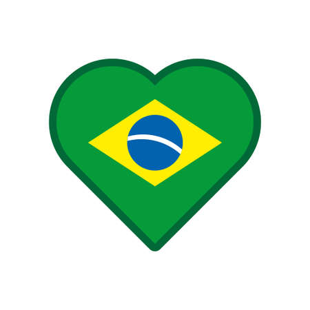 Brazilian heart vector, love icon with the flag of brazil Banque d'images - 107532008
