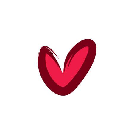 Heart illustration, brushed stroke vector