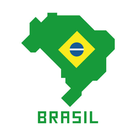 Map of Brazil with flag, brazilian symbols in simplified geometric design, flat design vector illustration Banque d'images - 110506359