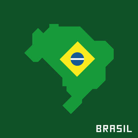 Brazilian map with flag Banque d'images - 107532026