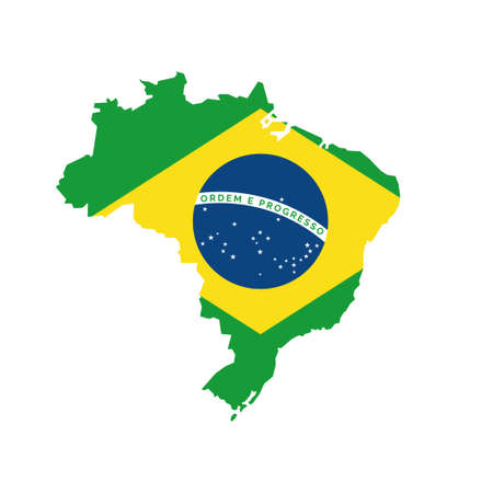 Map and flag of Brazil Banque d'images - 107532047