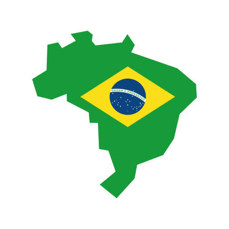 Map of Brazil with flag, brazilian national symbols Banque d'images - 107706189