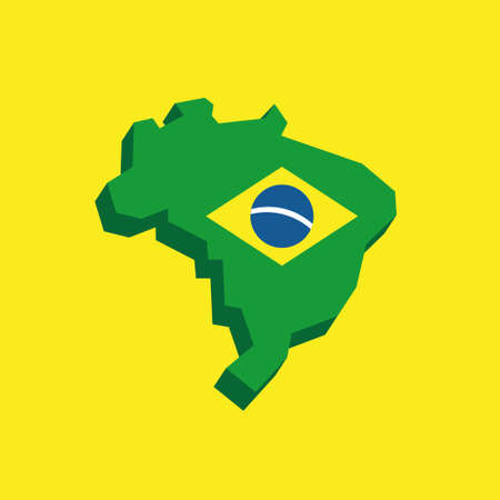 Map of Brazil with flag, brazilian national symbols Banque d'images - 110506381
