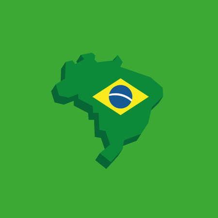 Brazilian map with flag, national symbol of Brasil Banque d'images - 107706195