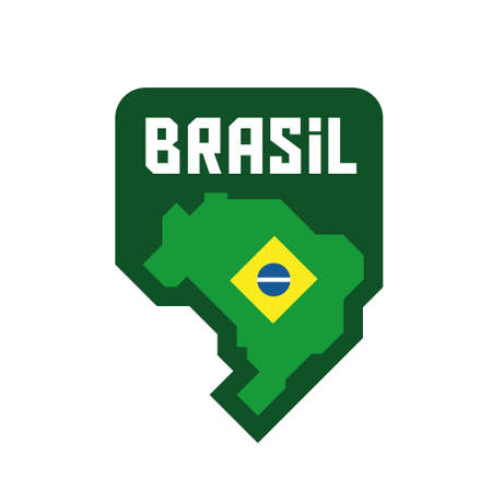 Map of Brazil with flag, brazilian vector badge design, national symbol of Brasil Banque d'images - 110506385