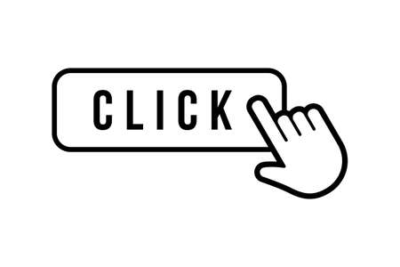 Click here button with hand clicking icon, vector illustration Illusztráció