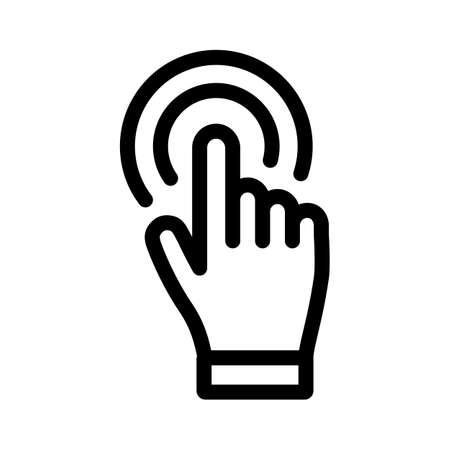 Clicking hand vector icon, bold stroke linear illustration Illustration