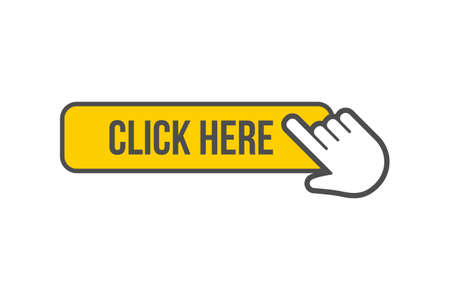 Click here button with hand icon clicking, isolated vector