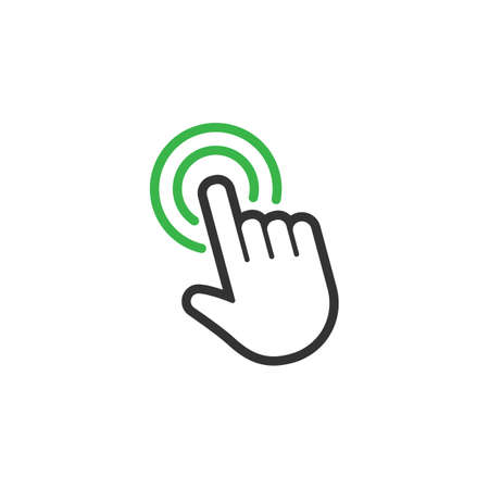 Hand clicking vector icon, mouse pointer click