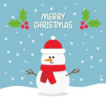 Cartoon cute snowman with merry christmas sign