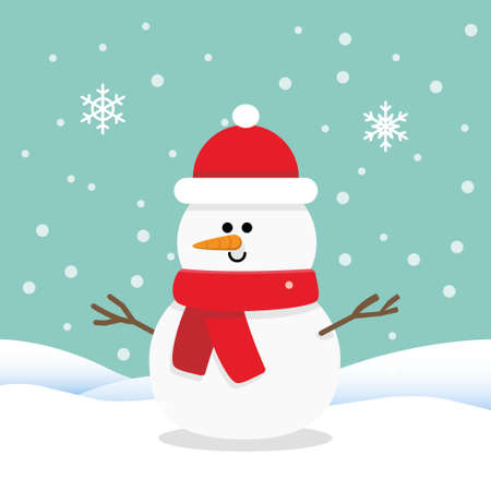 Snowman cartoon character, with snow background. Flat style vector illustration.