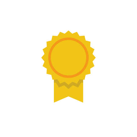 Medal ribbon badge, vector icon