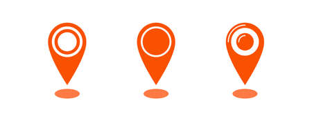 Locate in map vector icon, location pointer symbol set
