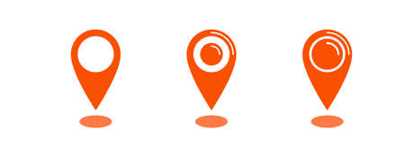 Location map icon set, gps pointer mark vector collection  イラスト・ベクター素材