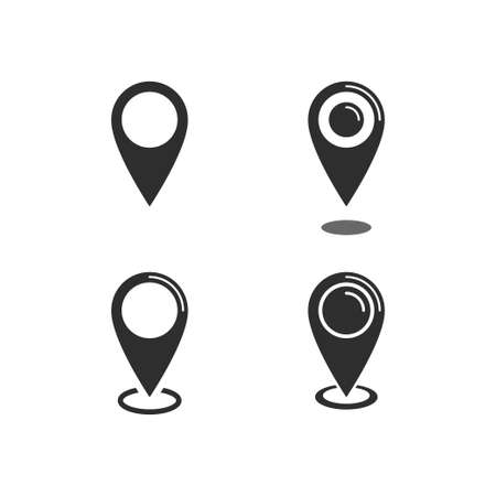 Location map icon set, gps pointer mark vector collection Vettoriali
