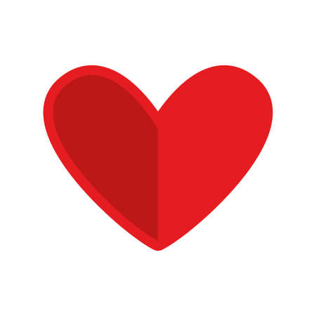 Love symbol, red heart shape icon