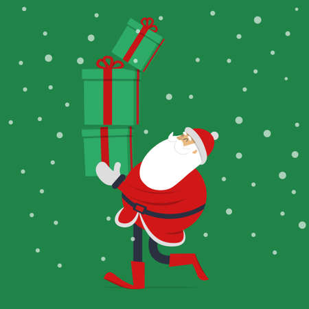 Santa claus illustration with gift. Cute and funny cartoon style design for Christmas salutation.