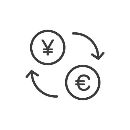 Currency exchange symbol, yuan and euro