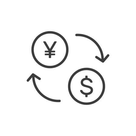 Currency exchange symbol, yuan and dollar Illustration