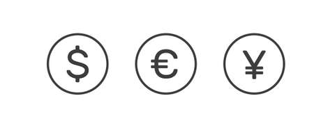 Dollar, euro and yuan currency icons Illustration