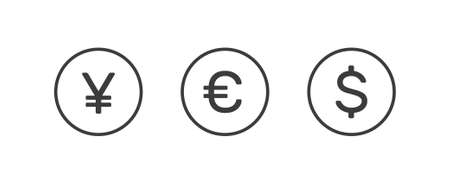 Dollar, euro and yuan currency icons inside circles