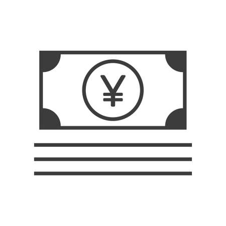 Yuan currency bill symbol, linear icon
