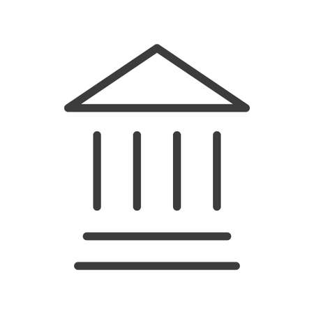 Bank building symbol, linear icon of financial institution