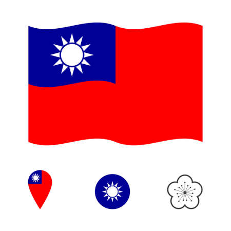 Flag of Taiwan with national symbols collection Vettoriali