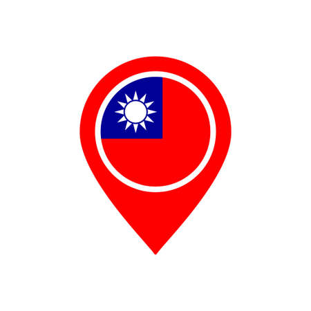 Location icon with taiwan flag Vettoriali