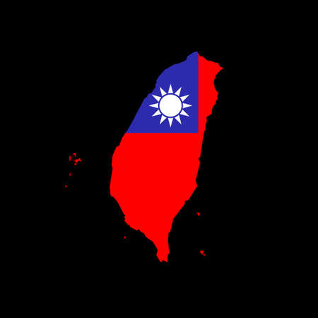 Map of Taiwan with flag inside
