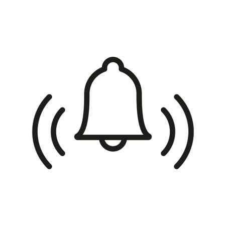 Icono de vector lineal de campana, símbolo de alarma