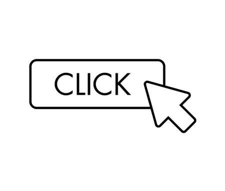 Click here button. Arrow clicking icon.