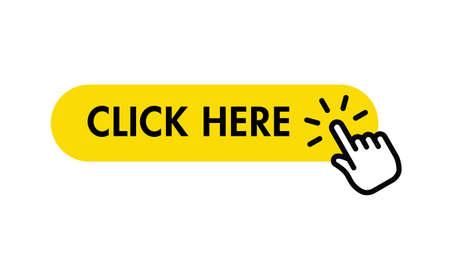 Cliquez ici bouton avec le pointeur de la main en cliquant