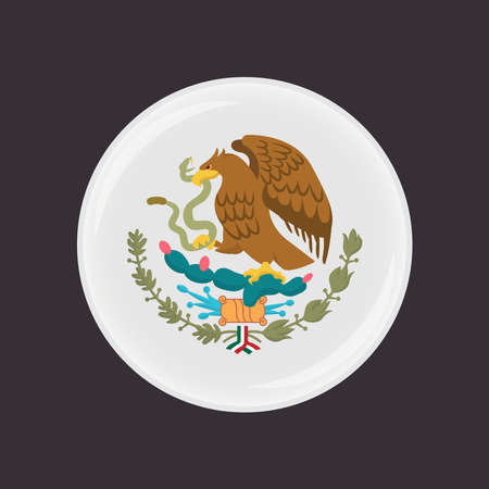 Mexican Coat of Arms simplified, national emblem. Eagle of Mexico.  イラスト・ベクター素材