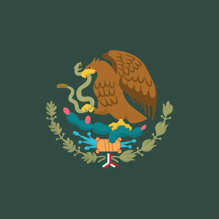 Mexican Coat of Arms simplified, national emblem. Eagle of Mexico. 向量圖像