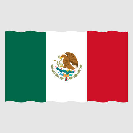 Waving flag of Mexico, vector mexican symbol