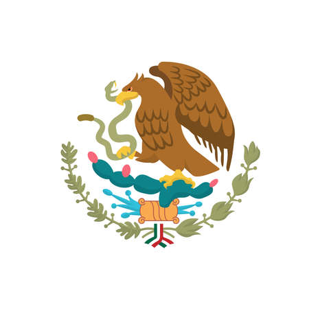 Mexican Coat of Arms simplified, national emblem. Eagle of Mexico. Stock Illustratie