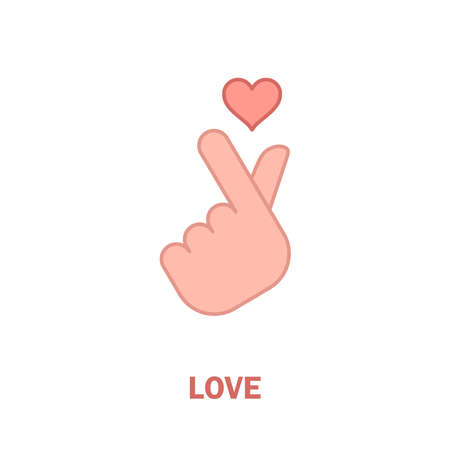 Korean love sign, hand gesture of romance. Finger heart symbol.