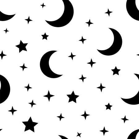 Moon and stars seamless pattern. Sky texture background. Star and moons.