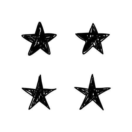 Star doodles collection. Hand drawn stars set. Çizim