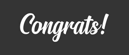 Congrats lettering. Handwritten modern calligraphy. Vector illustrated letters for congratulations design. 向量圖像