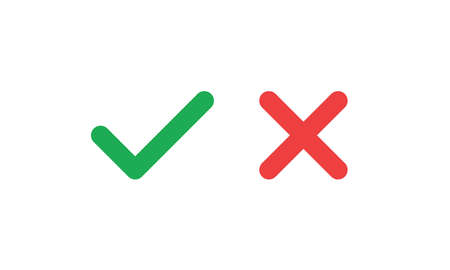 Check marks. Tick and cross vector icons. Yes and No symbols.
