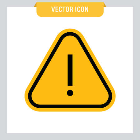 Attention icon, danger symbol vector. Triangle sign with exclamation mark. Ilustração